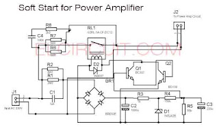 soft start power amplifier circuit schematic diagram