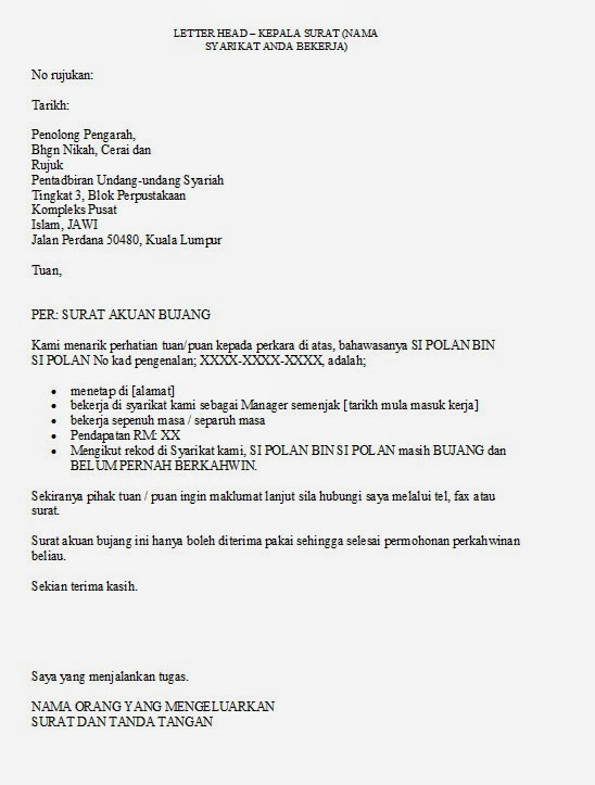 14 Contoh Surat Akuan Bujang Dari Ketua Kampung Kumpulan Contoh Surat
