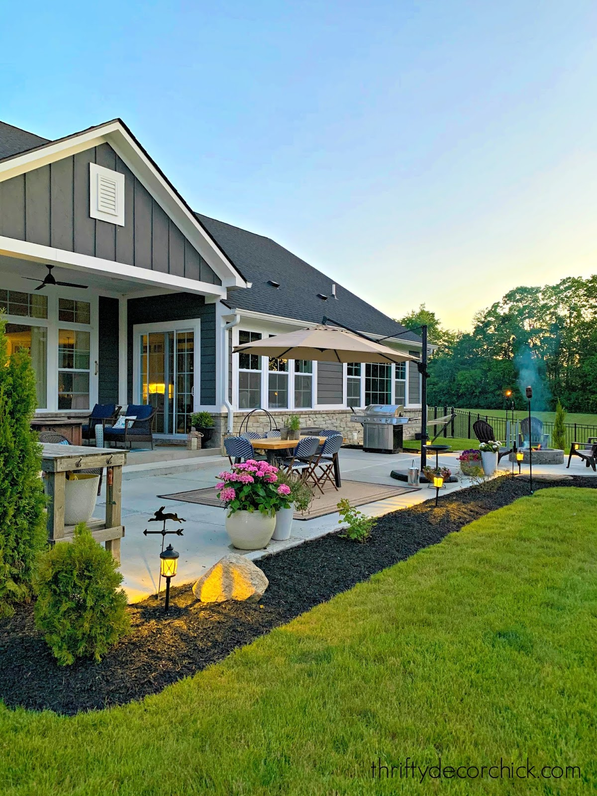 Modern Craftsman exterior and patio