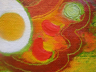 food painting of eggs in piquant sauce for the vegetarian cookbook by Fiona Morgan