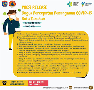 Press Release COVID-19 Tarakan 23 Maret 2020 - Tarakan Info