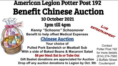10-10 Benefit Chinese Auction, Coudersport Legion Post 192