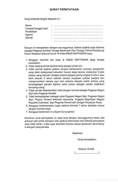 Pengadaan Tenaga Kontrak BLUD RSUD Saptosari Gunung Kidul Yogyakarta 2021