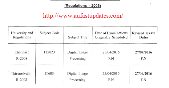 Anna university results 2016 april may for Rgpv time table 8 th sem