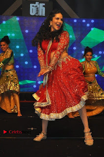 Bollywood Actress Model Sunny Leone Dance Performance in Red Half Saree at Rogue Audio Launch 13 March 2017  0148.jpg