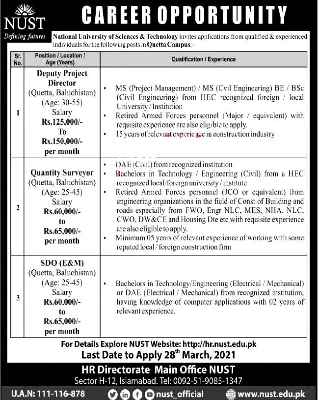Latest Jobs in National University of Science And Technology NUST Islamabad