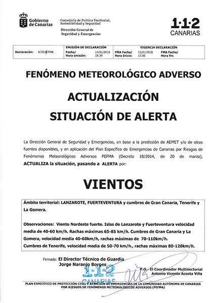 Aviso del Gobierno de Canarias sobre la alerta por fuerte vientos para mañana lunes 15 de enero y martes día 16
