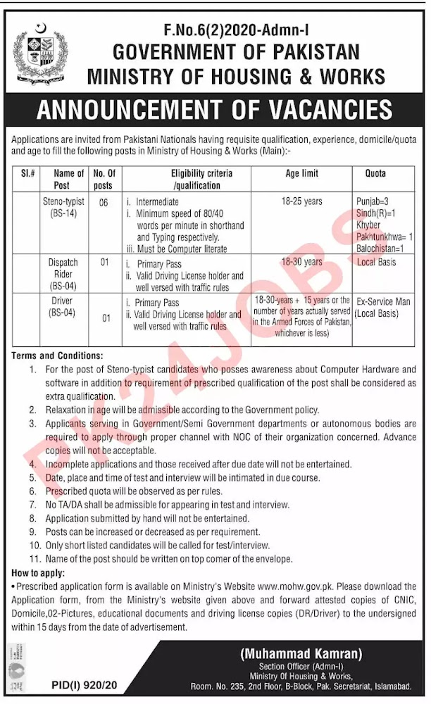 Government Jobs Ministry of Housing and Works MOHW Islamabad Jobs August 2020 Advertisement