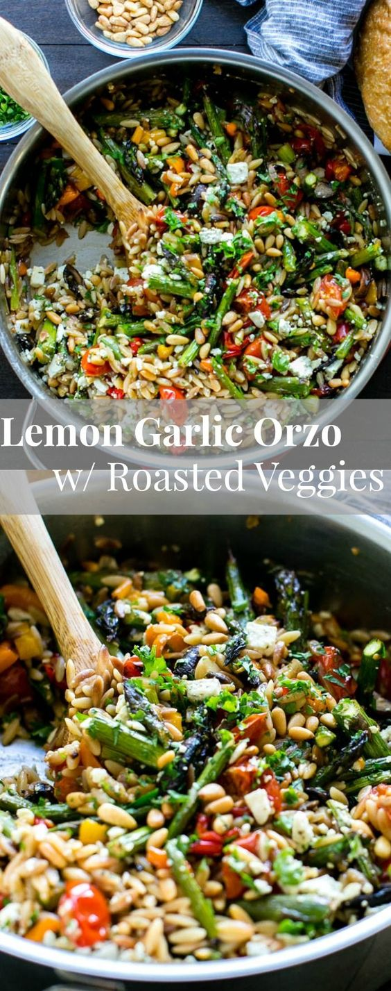 Lemon Garlic Orzo with Roasted Vegetables is packed with texture and flavor. A delicious and easy orzo pasta recipe served warm or chilled and makes fabulous leftovers or addition to a picnic. vegetarian + vegan option