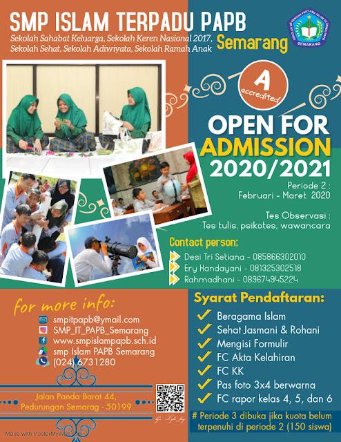 Pendaftaran peserta didik baru SMP IT PAPB Semarang 2020/2021