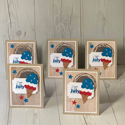 Handmade 4th of July Greeting cards using Ice Cream Cone Builder Punch 154241 from Stampin' Up!