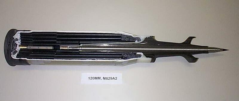 Унітарний постріл з опереним підкаліберним снарядом М829А2 з моноблоковим урановим сердечником для 120-мм гармати танків Абрамс