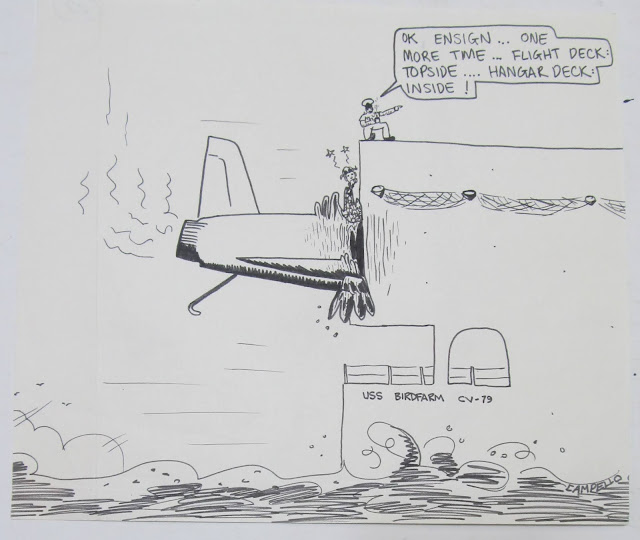 The Navy Chief and the pilot - a 1983 US Navy drawing by F. Lennox Campello