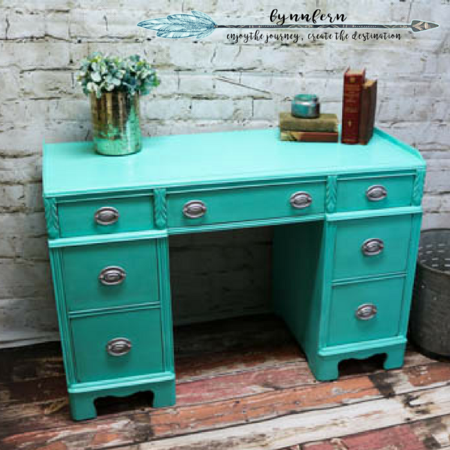 Desk painted with CeCe Caldwell paints
