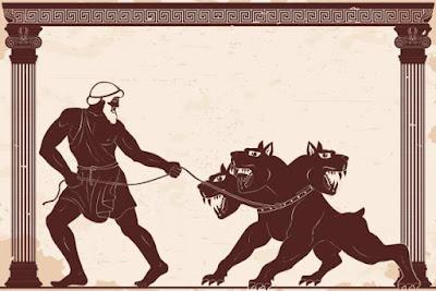 Ercole rapisce Cerbero dall'inferno.