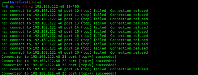 TCP ports scanning with Netcat