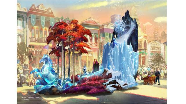Frozen II Themed Float Concept Art Magic Happens Disneyland Parade