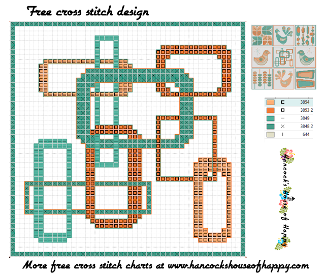 Mid-Century Madness: Free Country Style Mid-Century Cross Stitch Sampler Design Part V
