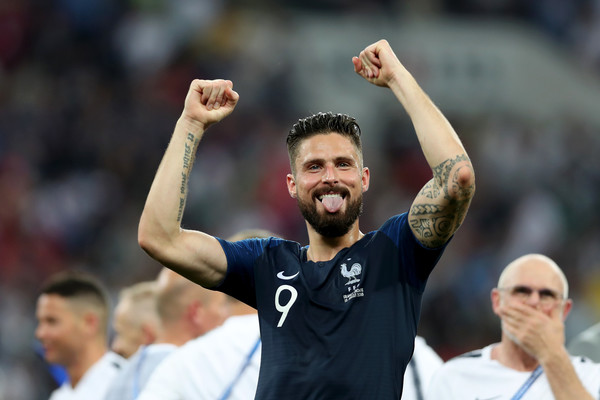 Olivier Giroud of France celebrates following his sides victory in the 2018 FIFA World Cup Final between France and Croatia at Luzhniki Stadium on July 15, 2018 in Moscow, Russia.