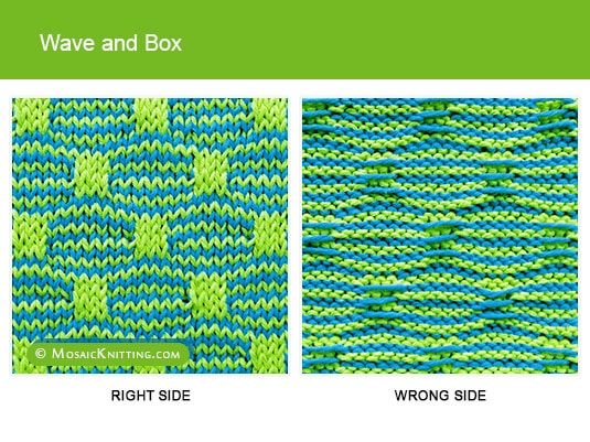 Mosaic Knitting - Two color Slip Stitch Pattern. Right side vs wrong side of the Wave and Box stitch
