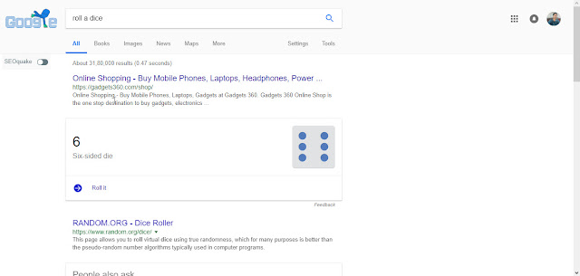 Roll a Dice Google tricks