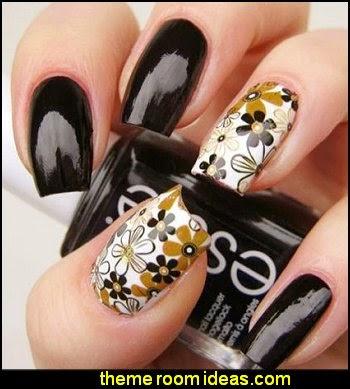 Nail Art Water Decal Transfers Leopard Dot Peak Flower Retro Knock