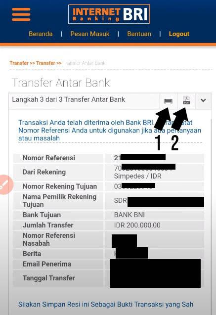Bukti Transfer Internet Banking BRI