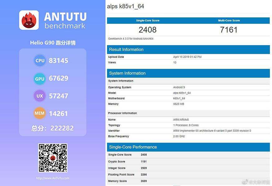 AnTuTu and Geekbench score of Helio G90