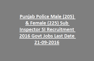 Punjab Police Male & Female Sub Inspector SI Recruitment Exam Notification 2016 430 Govt Jobs Online Last Date 21-09-2016