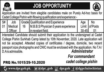 Pakistan Army Cadet College Latest Jobs in Pakistan Jobs 2021-2022
