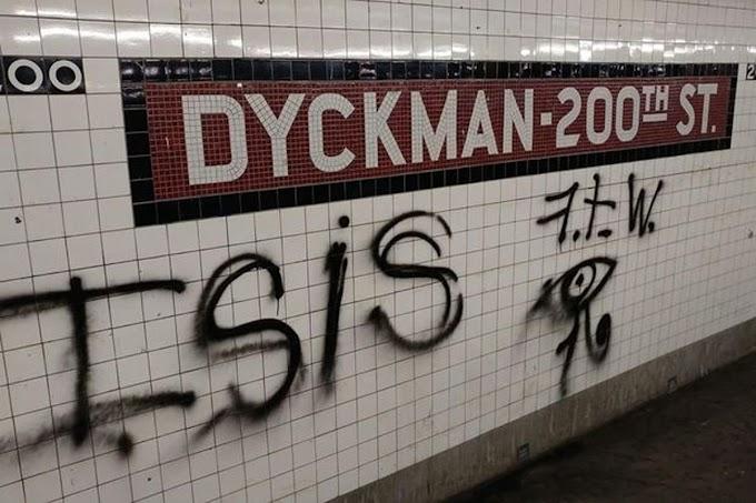 El ISIS saca las garras en el Alto Manhattan y pintan siglas en estación de tren de la avenida Dickman