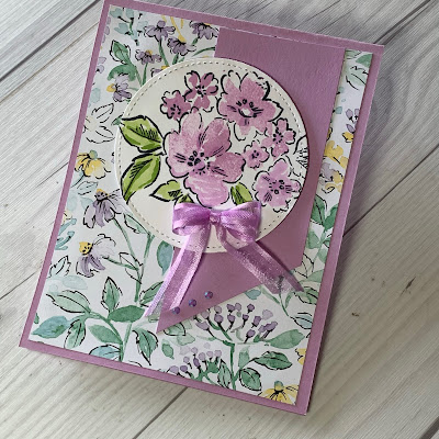 Floral handmade greeting card using Stampin' Up! Hand-Penned Petals Stamp Set