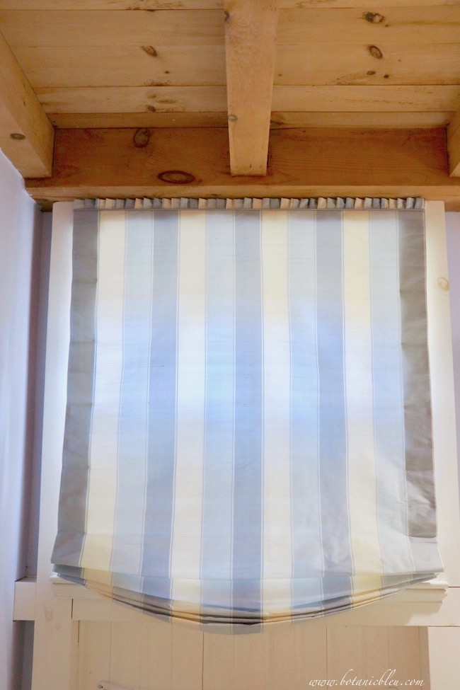 French Country Blue and White Striped  Silk Roman Shade Details