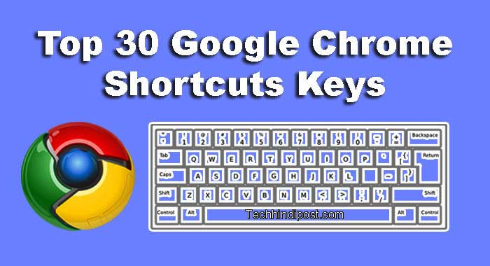 Top 30 Shortcut Keyboard Keys For Google Chrome Browser