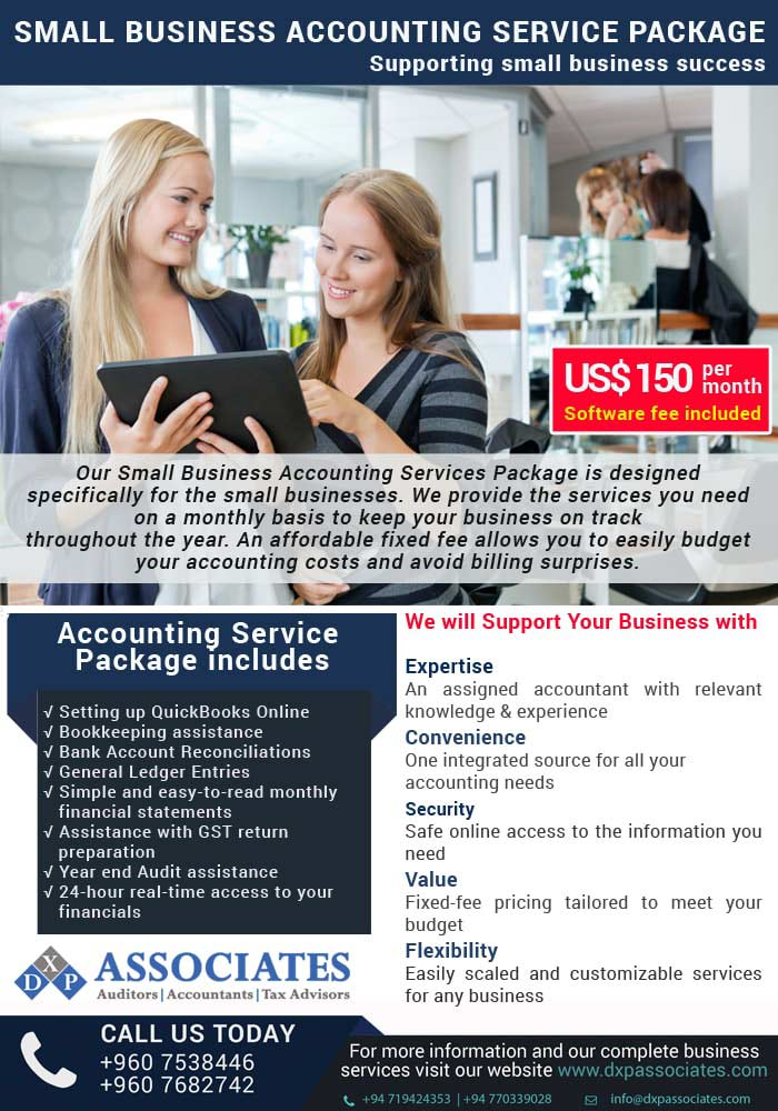 Small Business Accounting Service Package US$ 150/Month