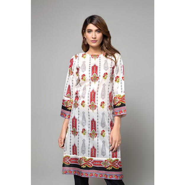 Gul Ahmed ready to wear kurti white & red color printed collection