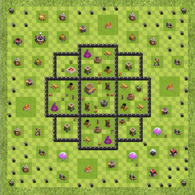 War Base Town Hall Level 8 By Ramin Graphic (no space TH 8 Layout)