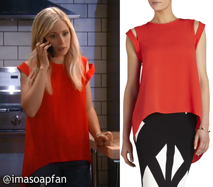 Lulu Spencer's Red Top with Shoulder Cutouts - General Hospital, Season 54, Episode 08/29/16