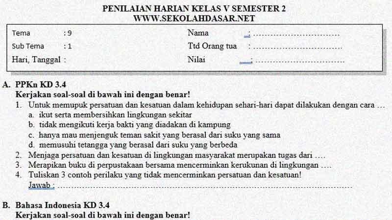 Soal Penilaian Kelas 5 Tema 8 Subtema 1 - Benda Tunggal dan Campuran