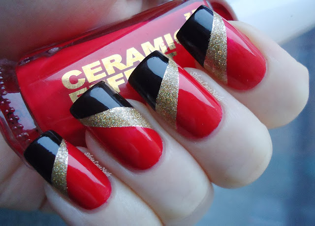 NYE red, gold, black tape nail art