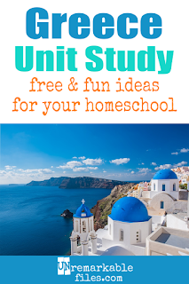 This Greece unit study is packed with activities, crafts, book lists, and recipes for kids of all ages! Make learning about Greece in your homeschool even more fun with these free ideas and resources. #Greece #homeschool