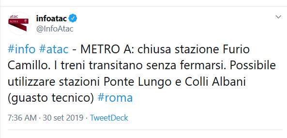 Situazione del trasporto pubblico di Roma lunedì 30 settembre