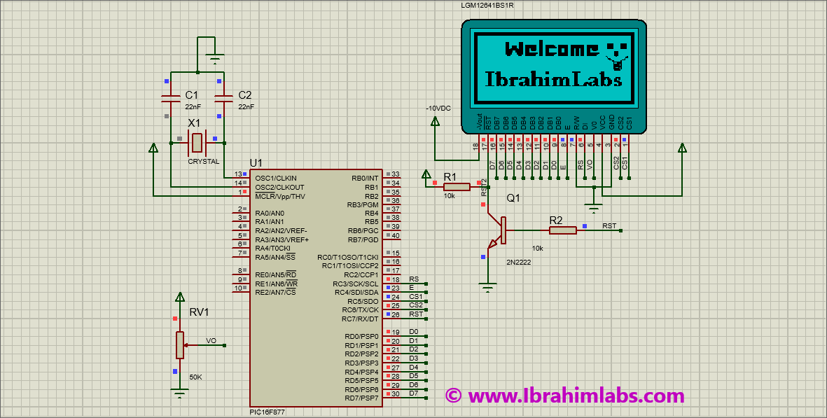 IbrahimLabs: Graphical LCD interfacing with PIC16F877 Code +