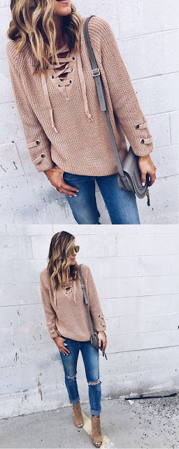 lace up sweater feature