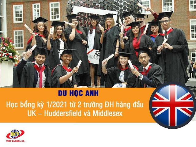 Du học Anh: Học bổng kỳ tháng 1/2021 từ 2 trường đại học hàng đầu UK – Huddersfield và Middlesex