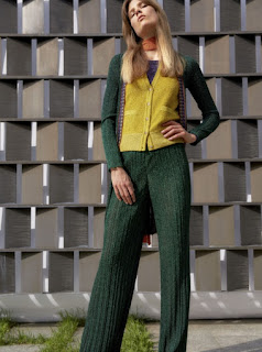 2017 Cruise Collection Missoni hunter green and mustard knit trouser and cardigan set