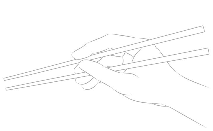 Gambar garis tampilan sisi tangan memegang sumpit