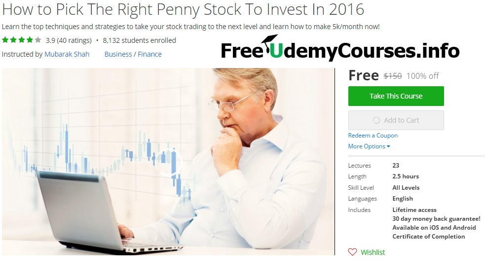 Udemy 100 Off How To Pick The Right Penny Stock To