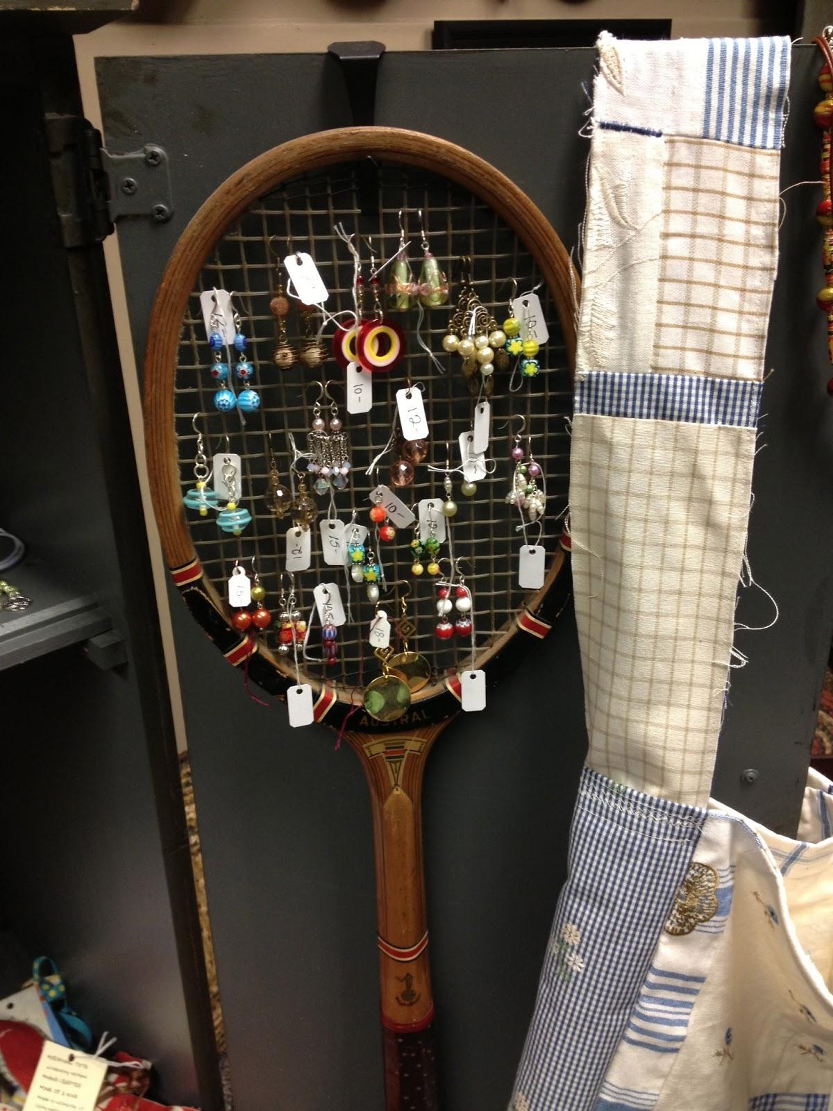 Displaying Vintage Earrings On An Antique Tennis Racket