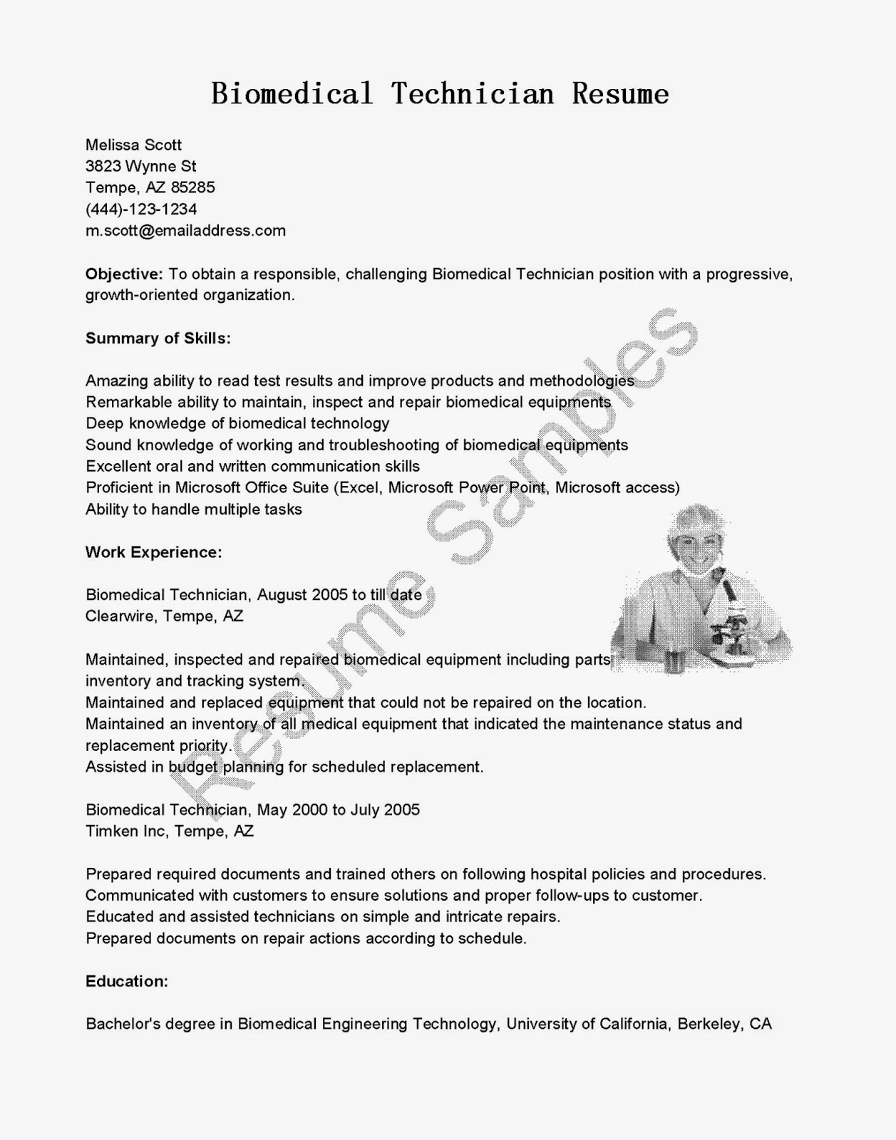 Biomedical Electronics Technician Resume Sample Document Salary Payscale